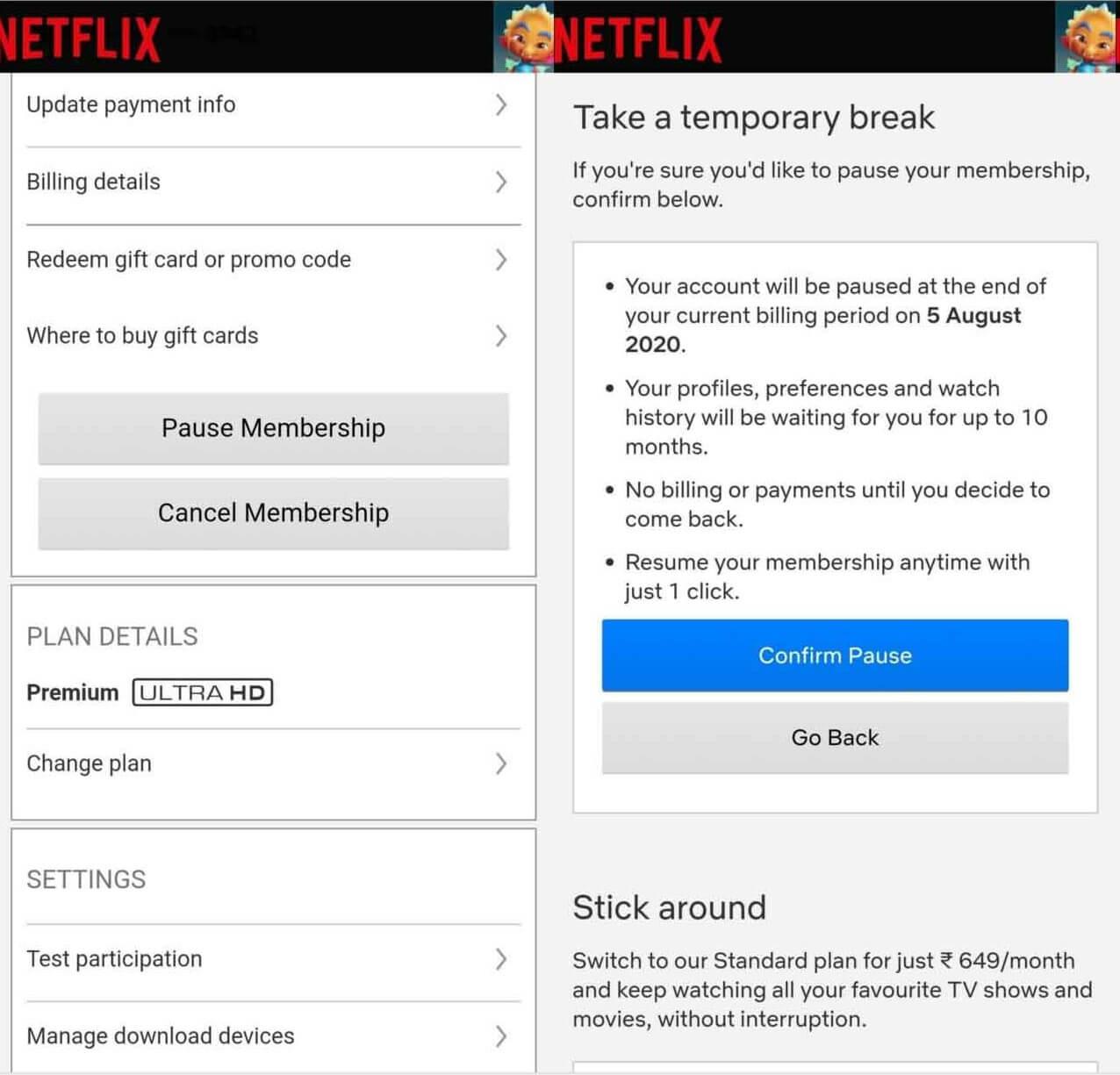Cancel netflix through app